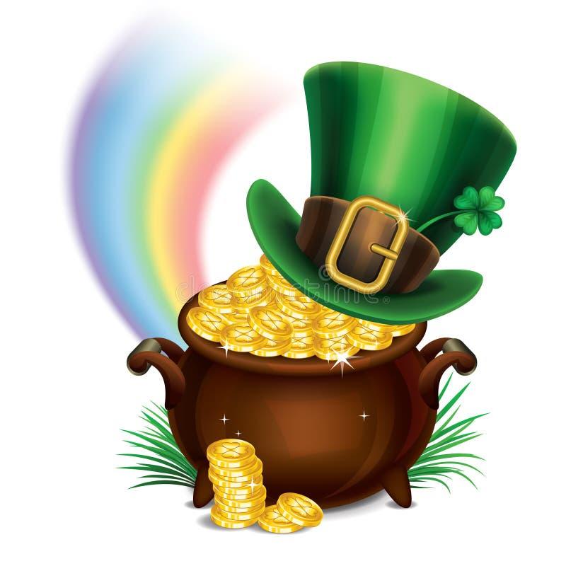 Σύμβολο-δοχείο ημέρας StPatrick του χρυσού και leprechaun του καπέλου διανυσματική απεικόνιση