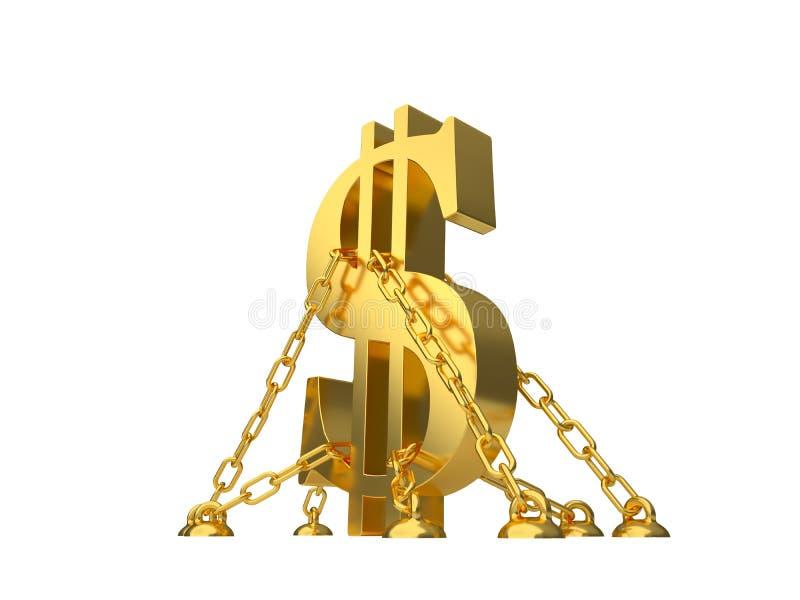 Σύμβολο δολαρίων που αλυσοδένεται στο πάτωμα διανυσματική απεικόνιση