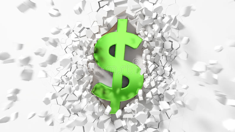 Σύμβολο δολαρίων που χτυπά στα κομμάτια τοίχων και πετάγματος γύρω απεικόνιση αποθεμάτων