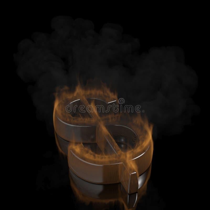 Σύμβολο δολαρίων πυρκαγιάς στοκ φωτογραφία με δικαίωμα ελεύθερης χρήσης