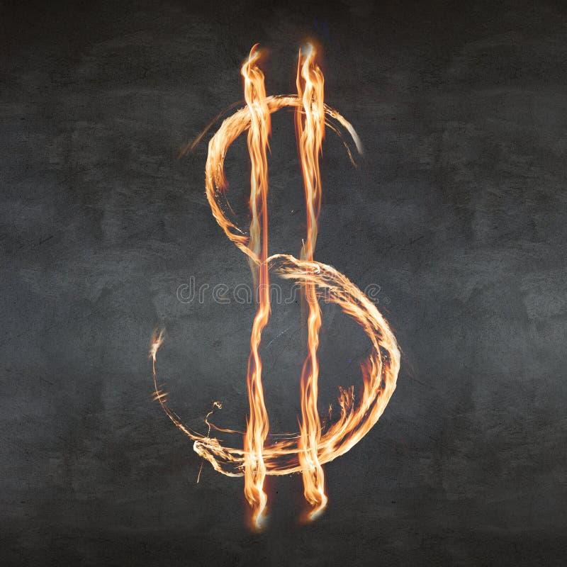 Σύμβολο δολαρίων πυρκαγιάς στοκ εικόνα