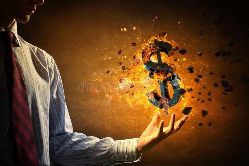 Σύμβολο δολαρίων στην πυρκαγιά Μικτά μέσα στοκ φωτογραφίες με δικαίωμα ελεύθερης χρήσης