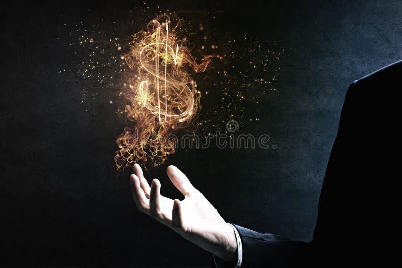 Σύμβολο δολαρίων στην πυρκαγιά Μικτά μέσα στοκ εικόνα