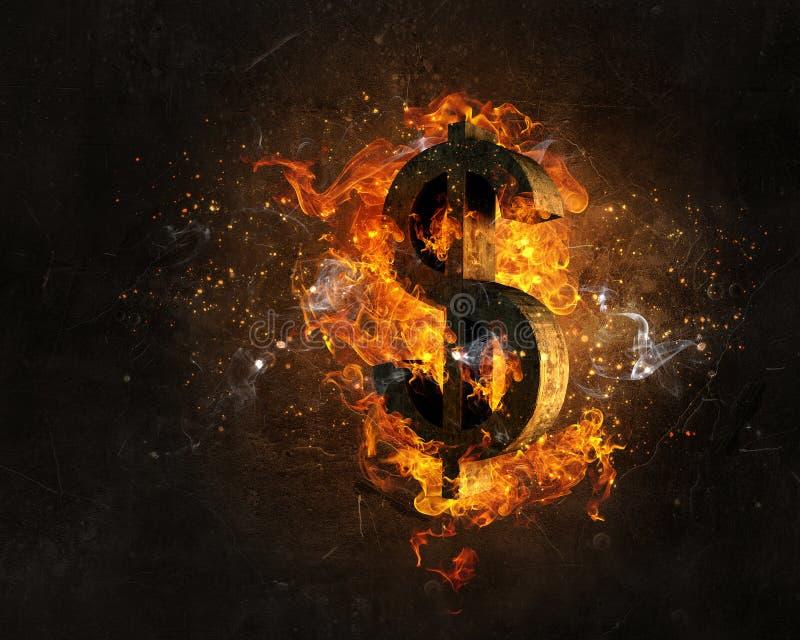 Σύμβολο δολαρίων στην πυρκαγιά στοκ φωτογραφία με δικαίωμα ελεύθερης χρήσης
