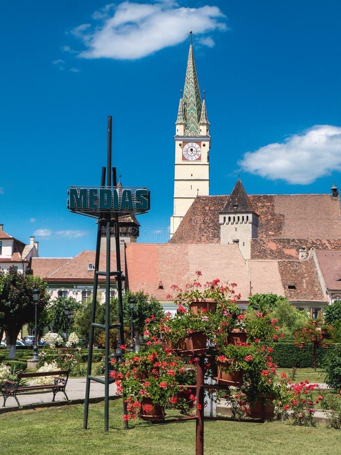 Σύμβολο πόλεων MEDIA Ρουμανία στοκ φωτογραφία με δικαίωμα ελεύθερης χρήσης