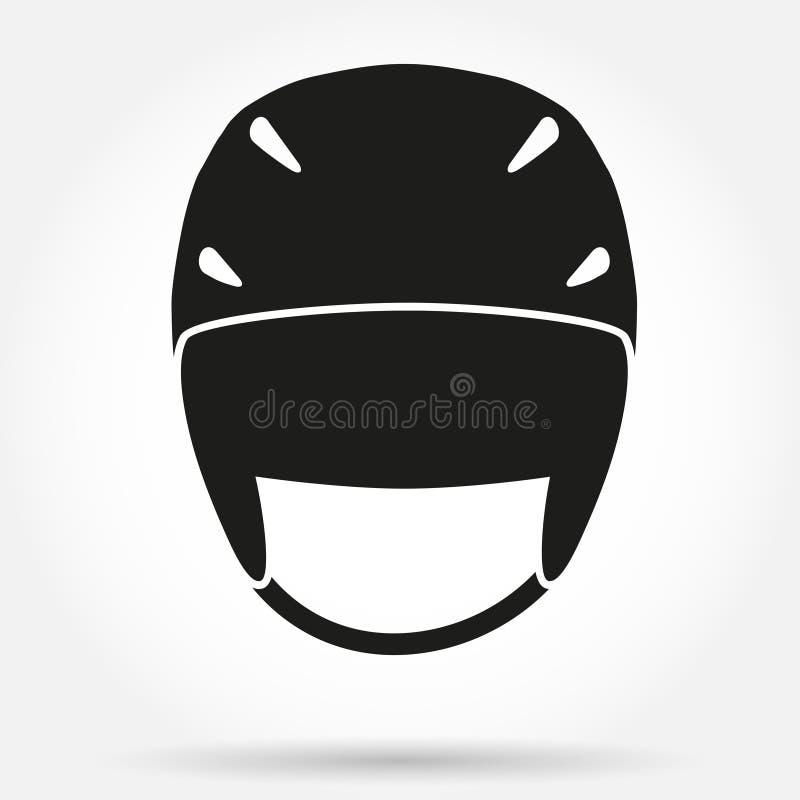 Σύμβολο σκιαγραφιών του κλασικού κράνους σκι σνόουμπορντ διανυσματική απεικόνιση