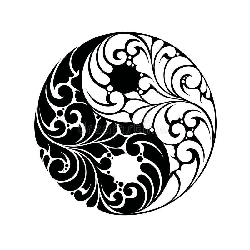 Σύμβολο σχεδίων Yin yang διανυσματική απεικόνιση