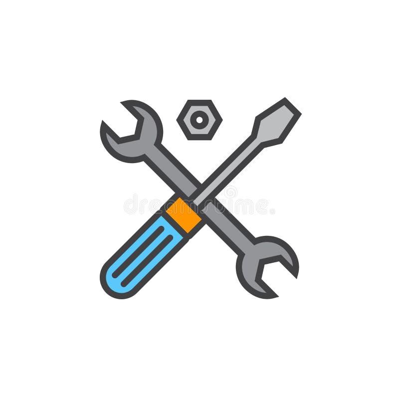 Σύμβολο τεχνικής υποστήριξης Εικονίδιο γραμμών εργαλείων, γεμισμένο διάνυσμα περιλήψεων διανυσματική απεικόνιση