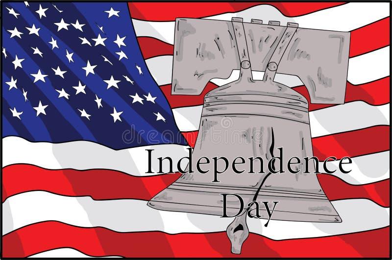 Σύμβολο της Αμερικής κουδουνιών και σημαιών της ανεξαρτησίας της Αμερικής αμερικανική ανεξαρτησία &eta ελεύθερη απεικόνιση δικαιώματος