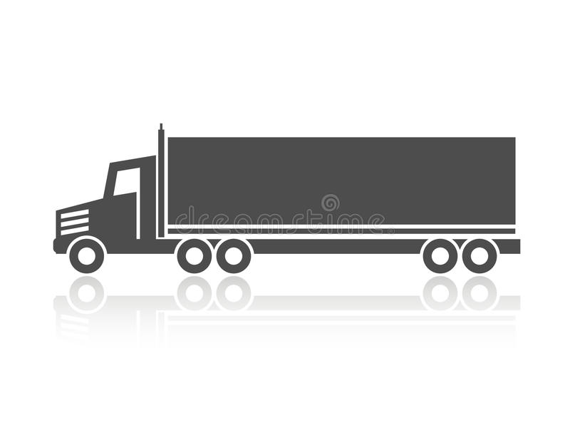 Σύμβολο της μεταφοράς, ναυτιλία εικονιδίων του κιβωτίου, σκιαγραφία του φορτηγού, φορτηγό Μονοχρωματικό σχέδιο διανυσματική απεικόνιση