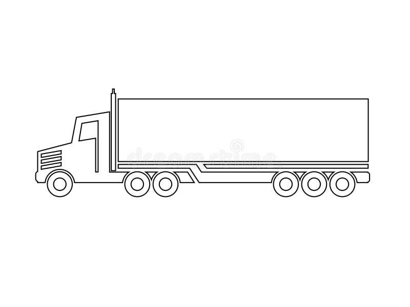 Σύμβολο της μεταφοράς, ναυτιλία εικονιδίων του κιβωτίου, σκιαγραφία του φορτηγού, φορτηγό Μονοχρωματικό σχέδιο γραμμών διανυσματική απεικόνιση
