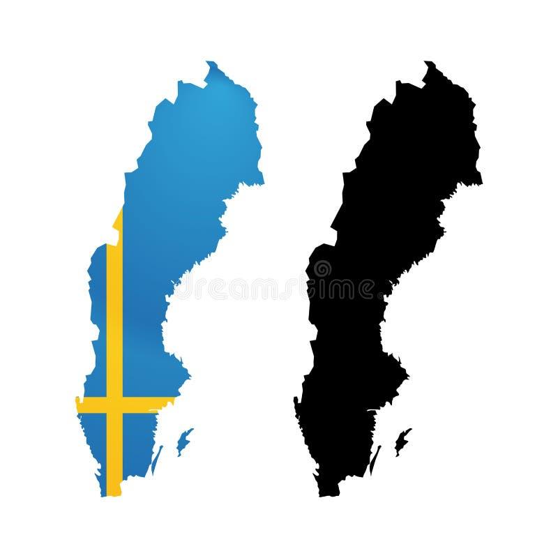 Σύμβολο της Σουηδίας στο χρώμα από τη εθνική σημαία ελεύθερη απεικόνιση δικαιώματος