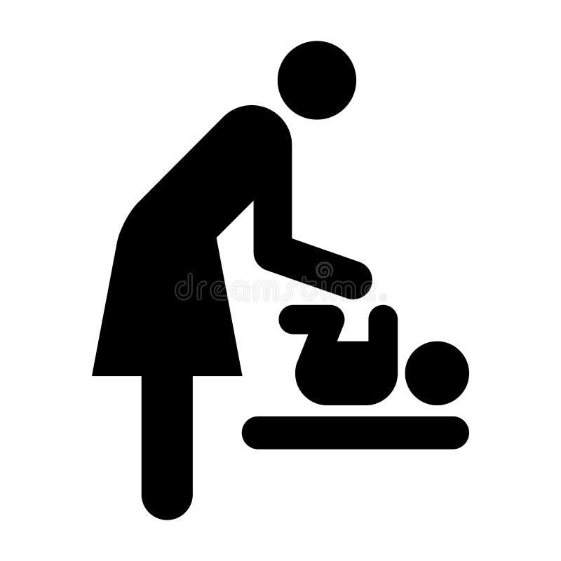 Σύμβολο δωματίων προσοχής μωρών, σύμβολο δωματίων μητέρων διανυσματική απεικόνιση