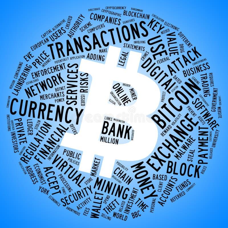 Σύμβολο Bitcoin με το σύννεφο ετικεττών στοκ εικόνα με δικαίωμα ελεύθερης χρήσης
