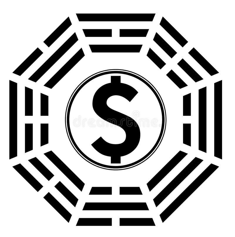 Σύμβολο Ying yang της αρμονίας και της ισορροπίας στα χρήματα ελεύθερη απεικόνιση δικαιώματος