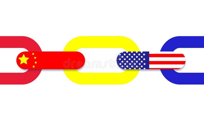 Σύνδεση αλυσίδων εμπορικών συναλλαγών, Κίνα Αμερική απεικόνιση αποθεμάτων