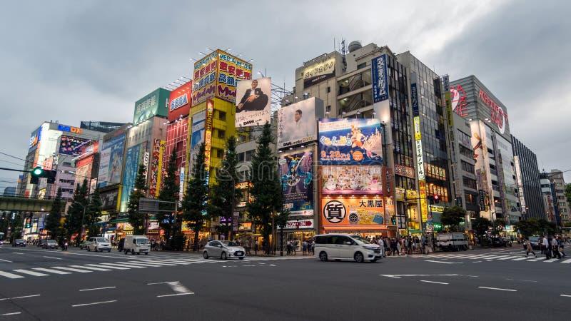 Σύνδεση διαβάσεων πεζών Akihabara το βράδυ με τα ζωηρόχρωμα φω'τα Ιαπωνικός σταυρός ο δρόμος στην οδό Akihabara, Ιαπωνία στοκ φωτογραφίες