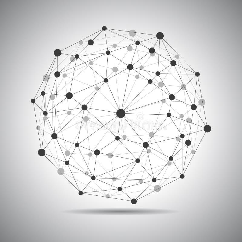 Σύνδεση δικτύων, σύνδεση σφαιρών, σφαίρα τεχνολογίας, μελλοντικός κόσμος έννοιας - διάνυσμα διανυσματική απεικόνιση
