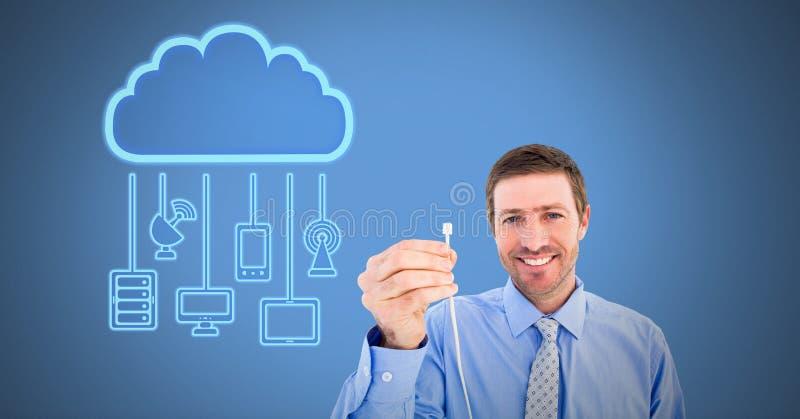 Σύνδεση καλωδίων εκμετάλλευσης ατόμων με τις συσκευές σύννεφων στοκ εικόνα
