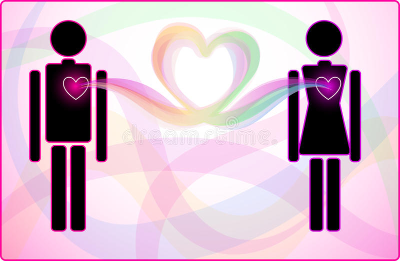 Σύνδεση καρδιών ανδρών και γυναικών ελεύθερη απεικόνιση δικαιώματος