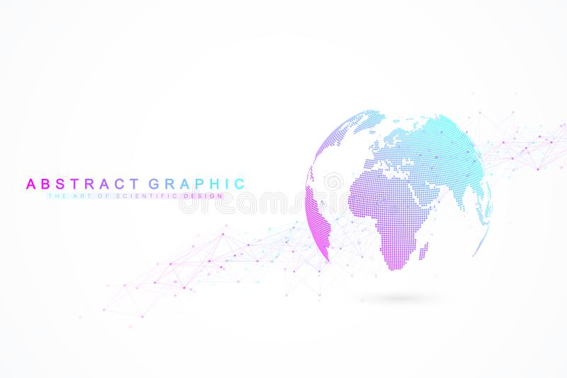 Σύνδεση παγκόσμιων δικτύων Δίκτυο και μεγάλη ανταλλαγή στοιχείων πέρα από το πλανήτη Γη στο διάστημα επιχειρηματικό πεδίο παγκόσμ απεικόνιση αποθεμάτων