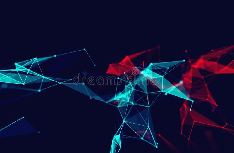 Σύνδεση σημείων και γραμμών στο αφηρημένο υπόβαθρο τεχνολογίας απεικόνιση αποθεμάτων