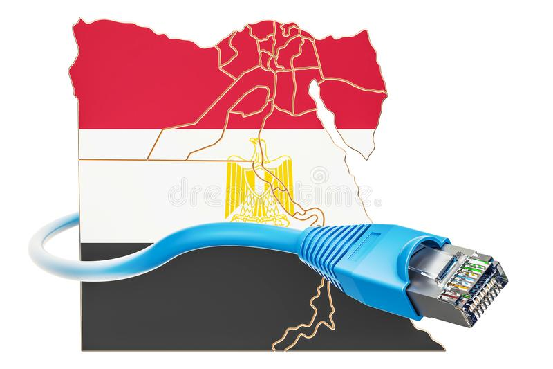 Σύνδεση στο Διαδίκτυο στην έννοια της Αιγύπτου τρισδιάστατη απόδοση διανυσματική απεικόνιση