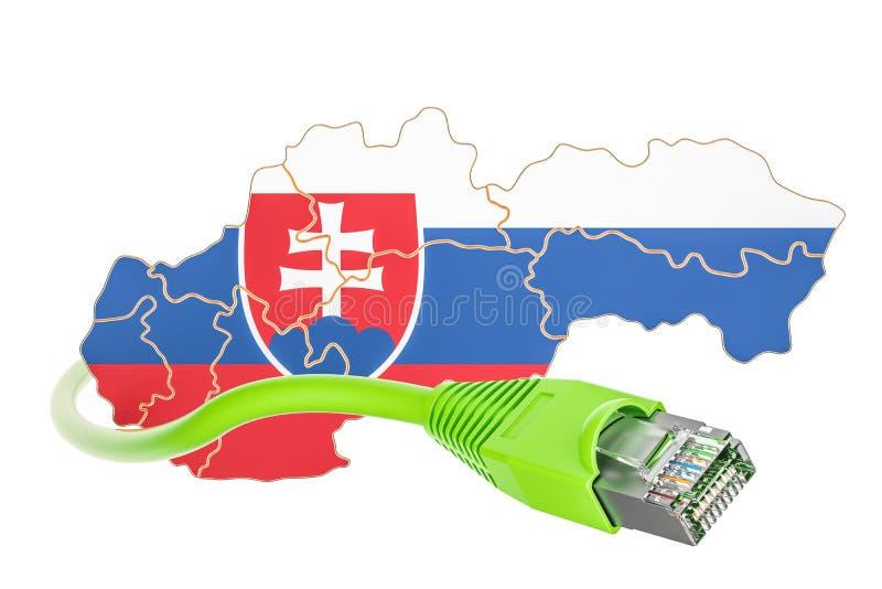 Σύνδεση στο Διαδίκτυο στην έννοια της Σλοβακίας τρισδιάστατη απόδοση διανυσματική απεικόνιση