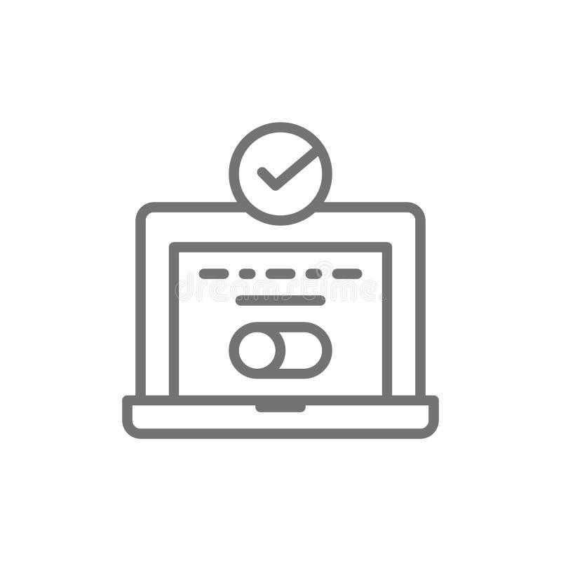Σύνδεση συστημάτων, lap-top με το σημάδι ελέγχου, επαλήθευση κωδικού πρόσβασης υπολογιστών, εικονίδιο γραμμών έγκρισης χρηστών διανυσματική απεικόνιση