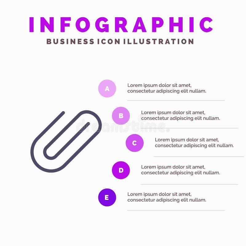 Σύνδεση, σύνδεσμος, συνδετήρας, στερεό εικονίδιο Infographics 5 εγγράφου υπόβαθρο παρουσίασης βημάτων διανυσματική απεικόνιση