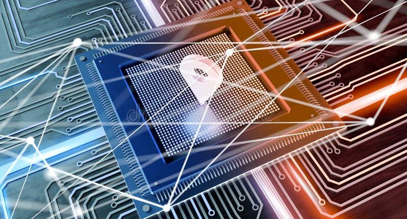 Σύνδεση τσιπ και δικτύων επεξεργαστών ΚΜΕ σε έναν πίνακα κυκλωμάτων - 3 διανυσματική απεικόνιση
