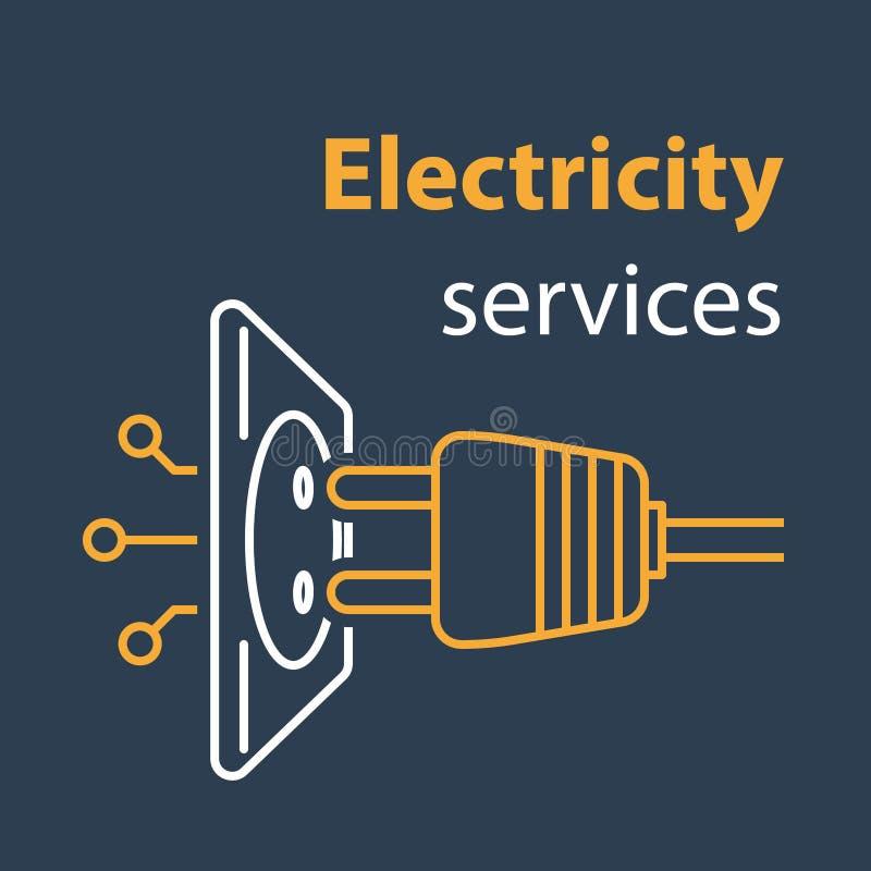 Σύνδεση υποδοχών και βουλωμάτων, υπηρεσίες ηλεκτρικής ενέργειας, ηλεκτρική έξοδος, επισκευή και συντήρηση, απεικόνιση γραμμών ελεύθερη απεικόνιση δικαιώματος
