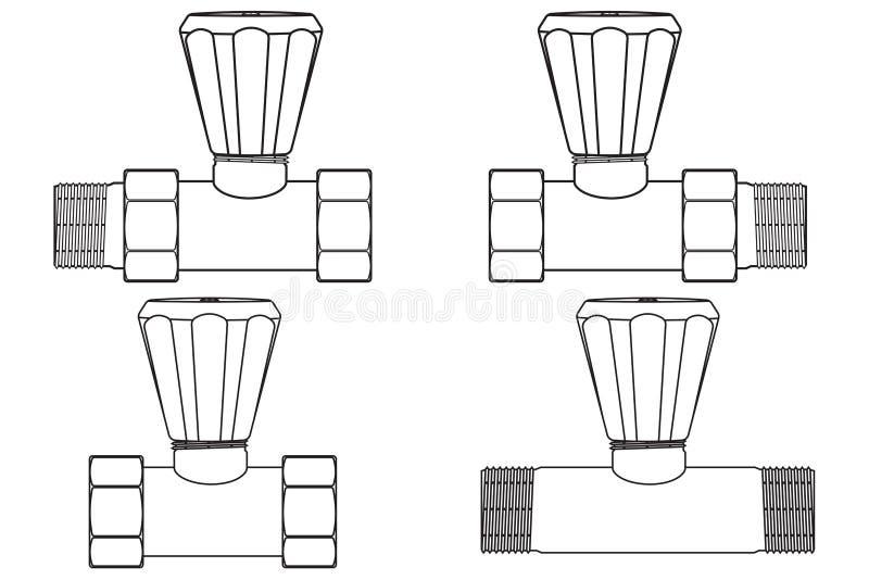 Σύνδεσμος σωλήνα με πάτημα Σύνολο διάρθρωσης απεικόνιση αποθεμάτων