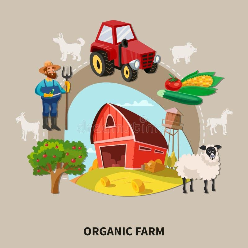 Σύνθεση αγροτικών κινούμενων σχεδίων ελεύθερη απεικόνιση δικαιώματος