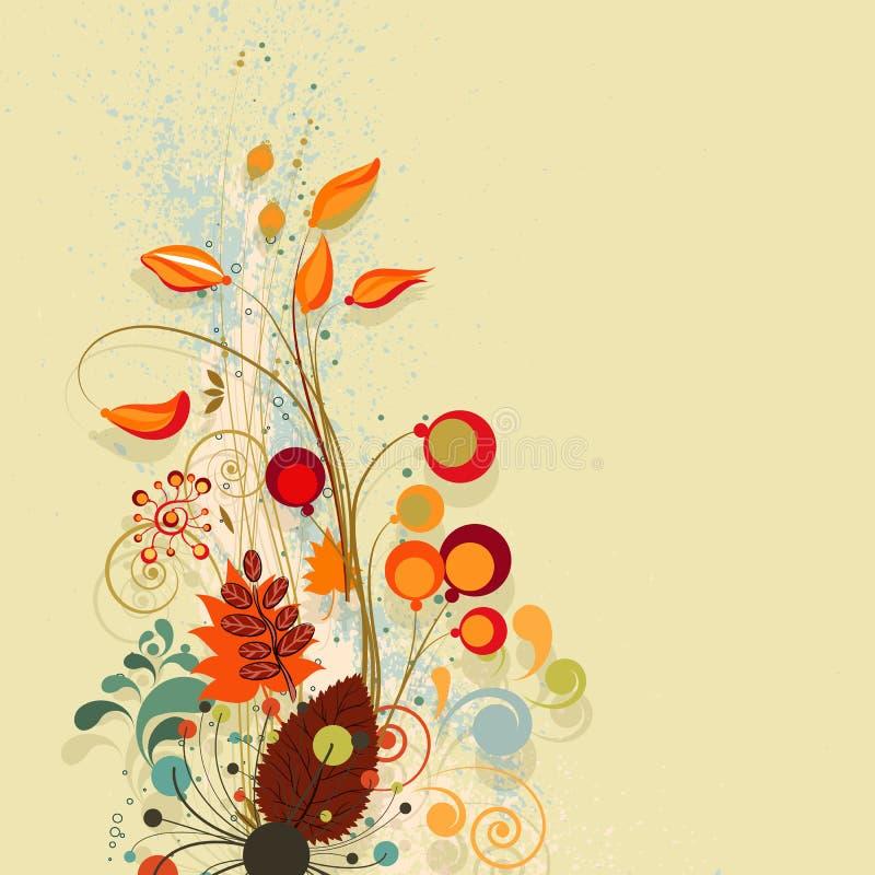σύνθεση ανασκόπησης φθινοπώρου floral διανυσματική απεικόνιση