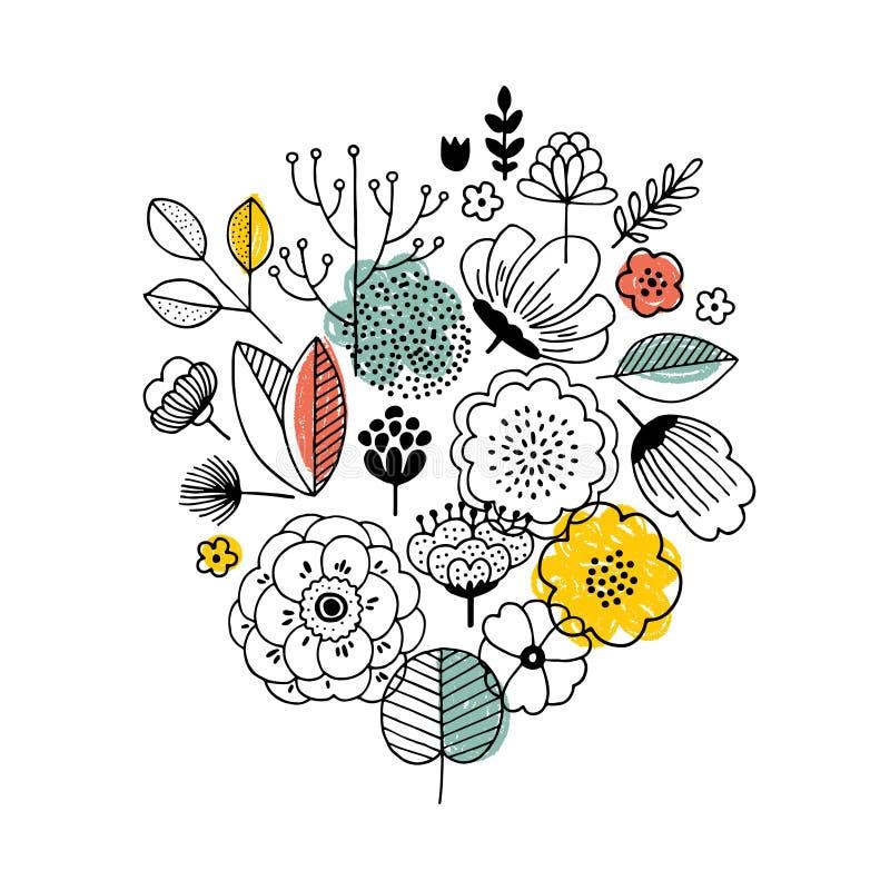 Σύνθεση ανθοδεσμών θερινών λουλουδιών Γραμμικός γραφικός Floral υπόβαθρο Σκανδιναβικό ύφος επίσης corel σύρετε το διάνυσμα απεικό διανυσματική απεικόνιση