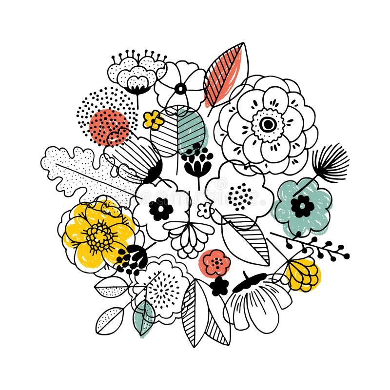Σύνθεση ανθοδεσμών λουλουδιών Γραμμικός γραφικός Floral υπόβαθρο Σκανδιναβικό ύφος επίσης corel σύρετε το διάνυσμα απεικόνισης διανυσματική απεικόνιση
