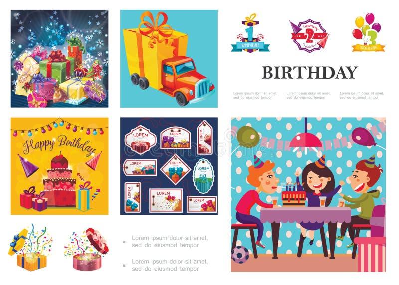 Σύνθεση γιορτής γενεθλίων ελεύθερη απεικόνιση δικαιώματος