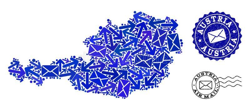 Σύνθεση διαδρομών ταχυδρομείου του χάρτη μωσαϊκών των σφραγίδων της Αυστρίας και Grunge απεικόνιση αποθεμάτων