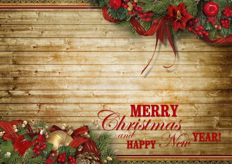Σύνθεση διακοπών Χριστουγέννων στο ξύλινο υπόβαθρο με το διάστημα αντιγράφων για το κείμενό σας στοκ φωτογραφίες