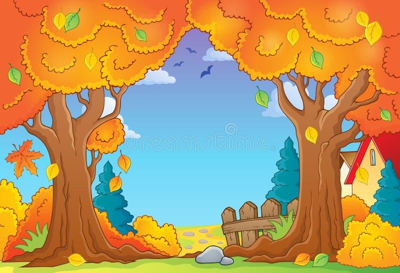 Σύνθεση 1 θέματος δέντρων φθινοπώρου απεικόνιση αποθεμάτων