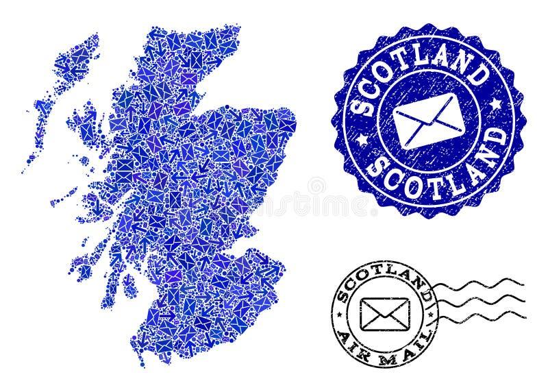 Σύνθεση Κινήματος ταχυδρομείου του χάρτη μωσαϊκών της Σκωτίας και των γρατσουνισμένων γραμματοσήμων απεικόνιση αποθεμάτων