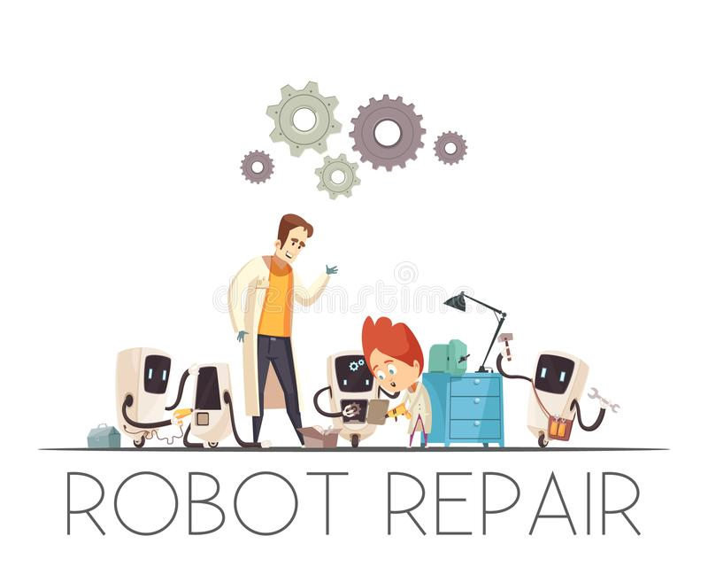 Σύνθεση κινούμενων σχεδίων επισκευής ομαδικής εργασίας ρομπότ διανυσματική απεικόνιση