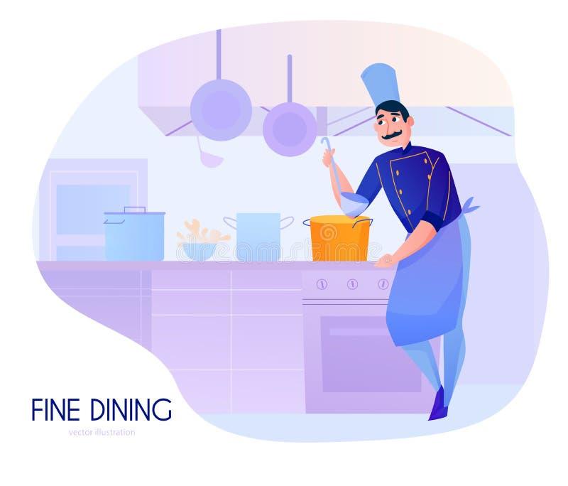 Σύνθεση κινούμενων σχεδίων μαγείρων διανυσματική απεικόνιση