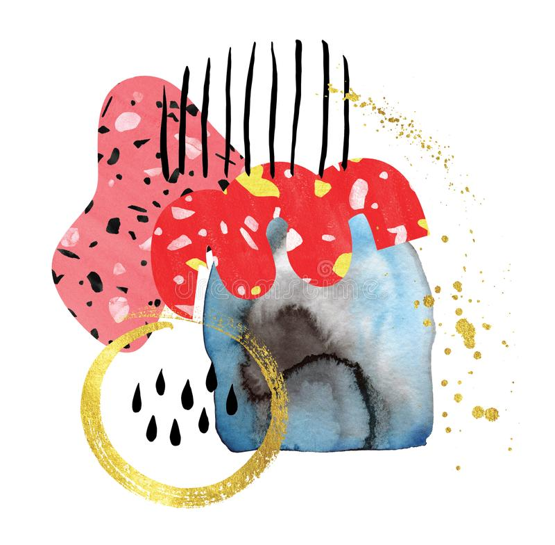 Σύνθεση κολάζ Watercolor στον μπλε ρόδινο μαύρο χρυσό κοραλλιών διανυσματική απεικόνιση