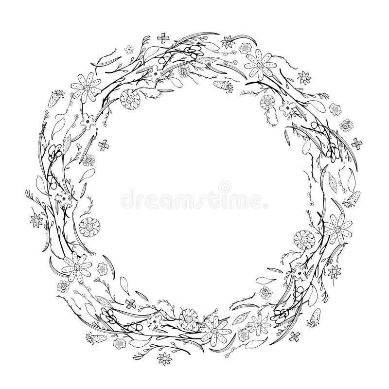 Σύνθεση λουλουδιών στο ύφος doodle floral ilustration κλίσεων πλαισίου κανένα διάνυσμα διανυσματική απεικόνιση
