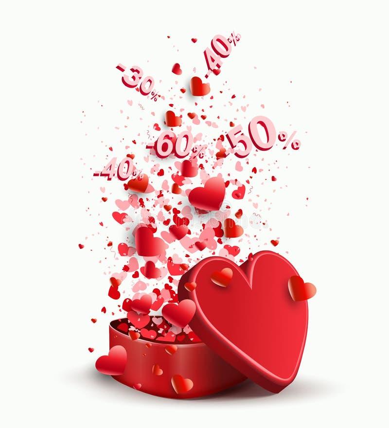 Σύνθεση με μια κασετίνα του κόκκινου χρώματος και του συνόλου καρδιών και αριθμών, διανυσματική απεικόνιση