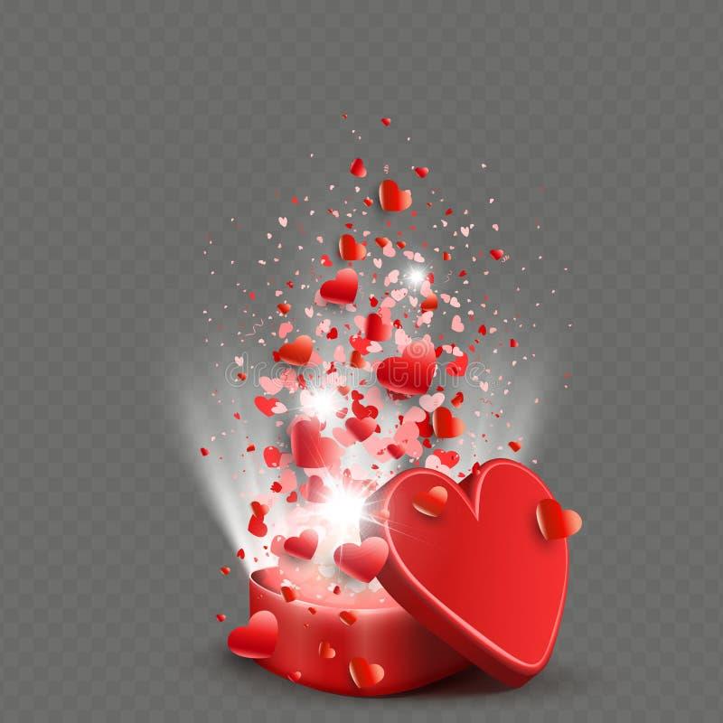 Σύνθεση με μια κασετίνα του κόκκινου χρώματος, σύνολο καρδιών και ακτίνων του φωτός διανυσματική απεικόνιση