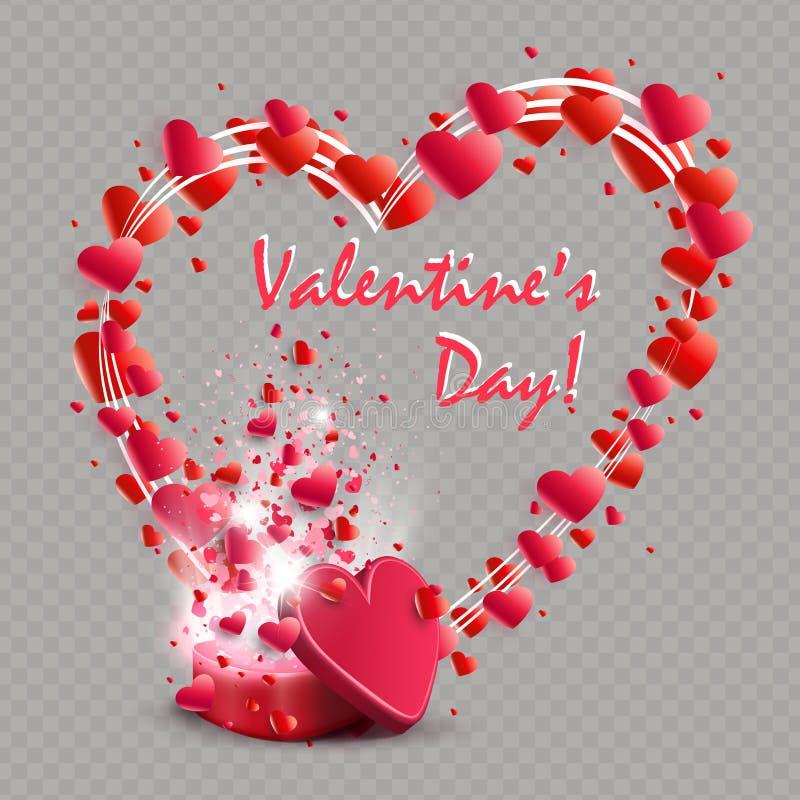 Σύνθεση με μια κόκκινη κασετίνα και ένα στεφάνι με πολλές καρδιές, στοιχείο σχεδίου ελεύθερη απεικόνιση δικαιώματος