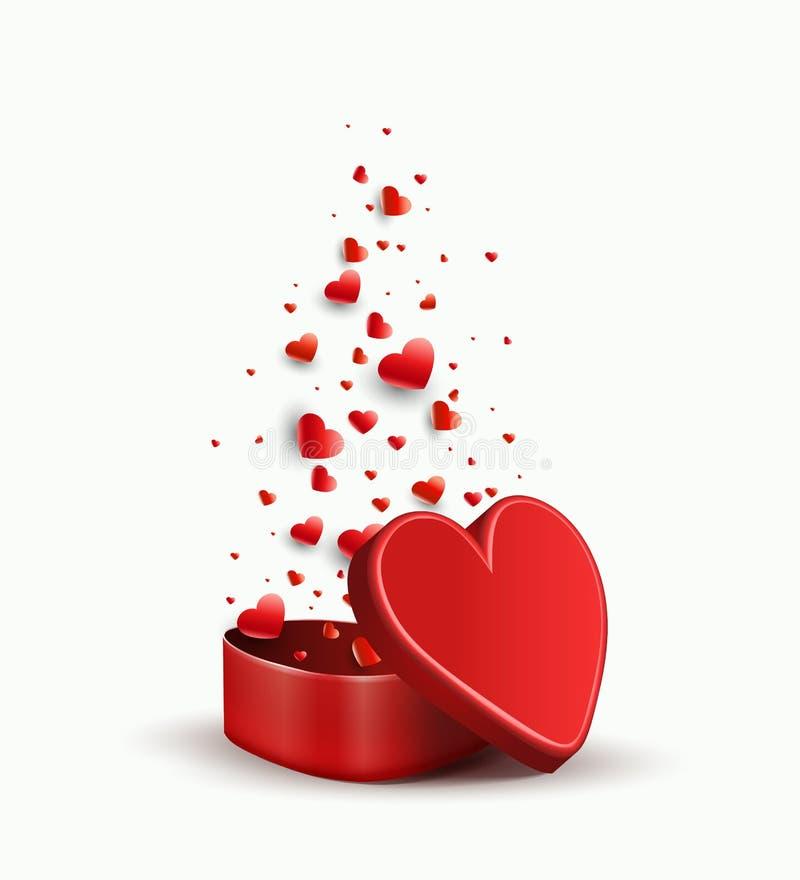 Σύνθεση με μια κόκκινη κασετίνα και ποικίλες κόκκινες καρδιές, διανυσματική απεικόνιση